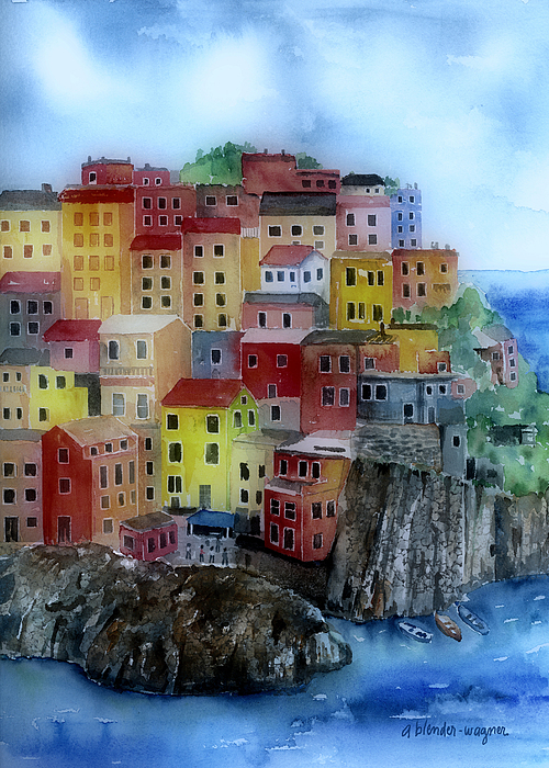 City Painting - Hillside Homes by Arline Wagner