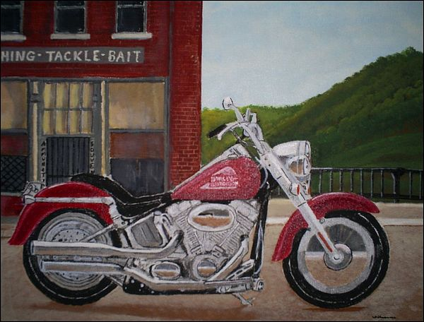 Motorcycle Painting - Hillside View by Brian  Williams