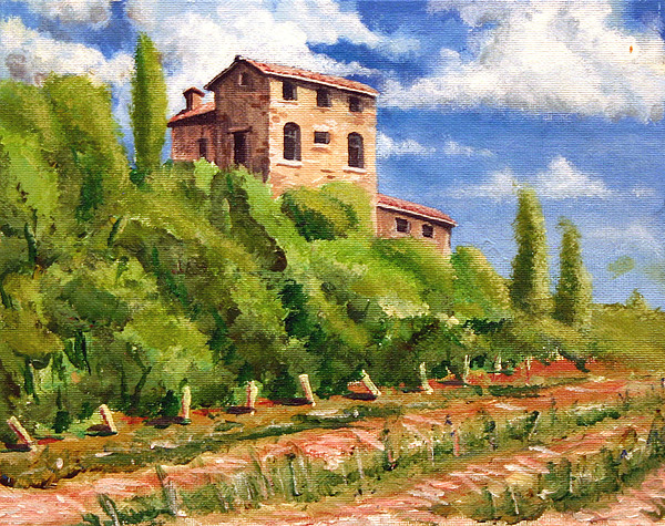 Tuscan Painting - Hillside by Wesley Pack