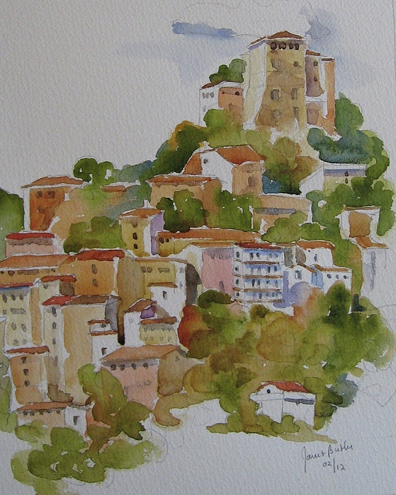 Italy Painting - Hilltop Villege, Umbria by Janet Butler