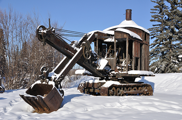 Alaska Photograph - Historic Mining Steam Shovel During Alaska Winter by Gary Whitton