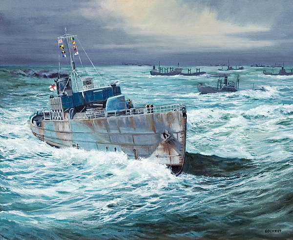 Nicholas Monsarrat Painting - Hms Compass Rose Escorting North Atlantic Convoy by Glenn Secrest