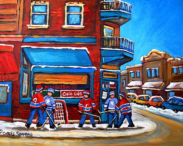 Montreal Street Scene Painting - Hockey Game At Wilenskys by Carole Spandau