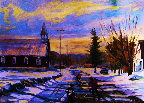 Montreal Painting - Hockey Game In The Village by Carole Spandau