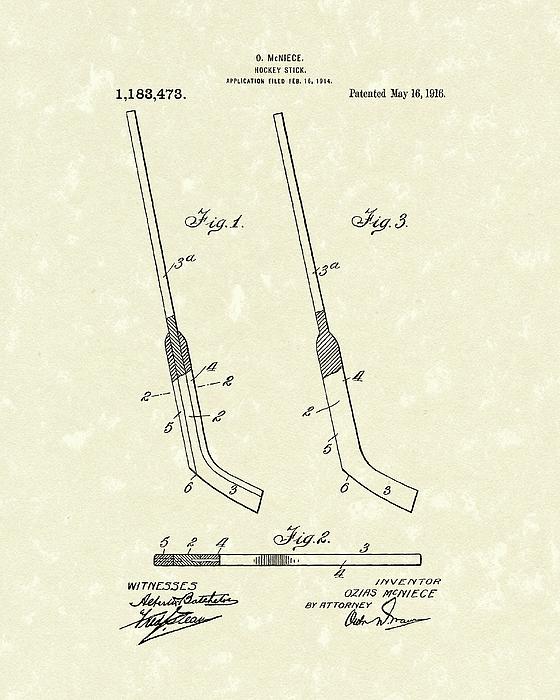 Hockey Drawing - Hockey Stick Mcniece 1916 Patent Art by Prior Art Design