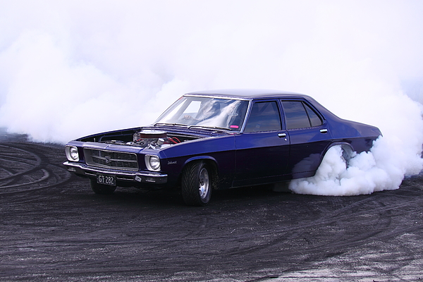 V8 Photograph - Holden Belmont With 454 Chev Doing A Burnout by Stephen Athea