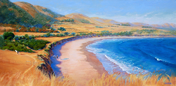 Beach Painting - Holiday Crowd At Ranch House by Lynee Sapere