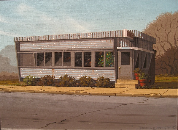 Diner Painting - Holiday Diner by Robert P  Waddington