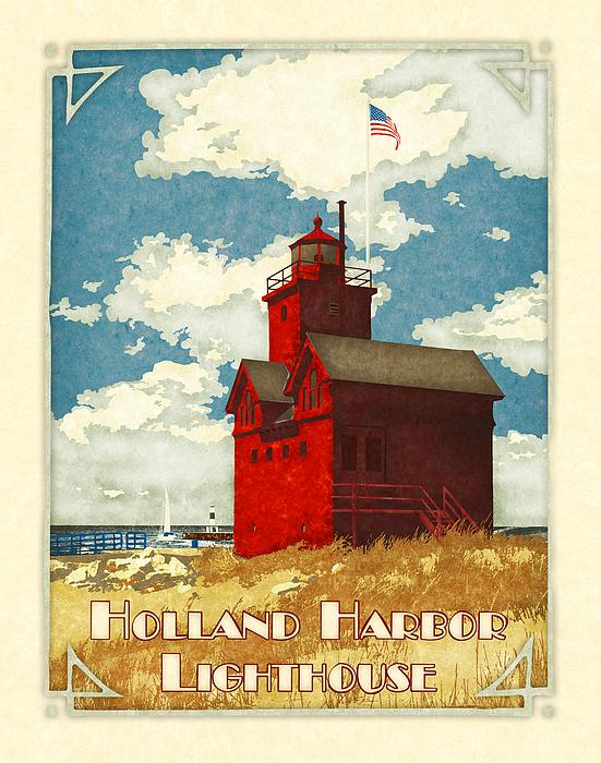 Vintage Digital Art - Holland Harbor Lighthouse by Antoinette Houtman