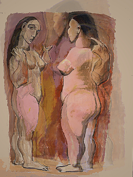 Nude Mixed Media - Homage To Pablo by Noredin Morgan