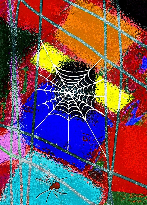 Spider Mixed Media - Home Sweet Spider Home by Mimo Krouzian