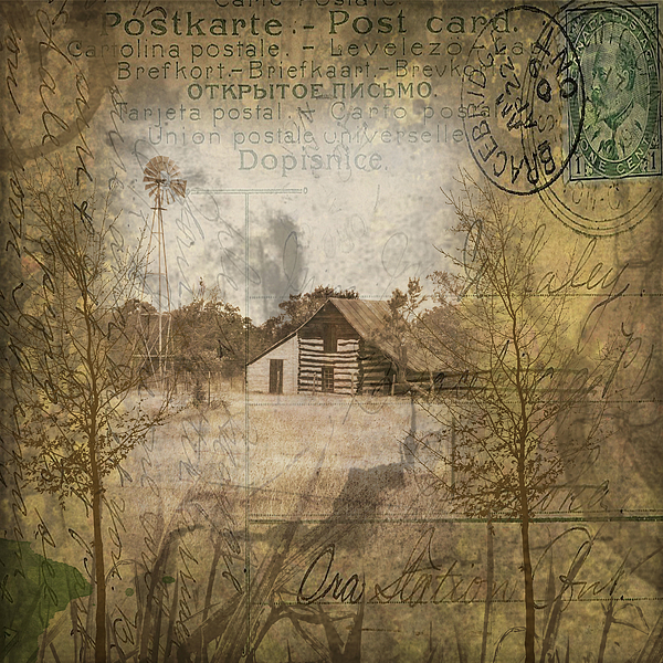 Collage Digital Art - Homestead Of Old by Nadine Berg