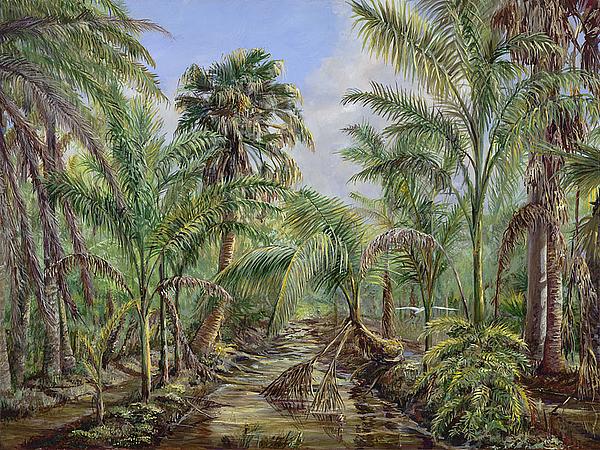 Palms Painting - Homestead Tree Farm by AnnaJo Vahle
