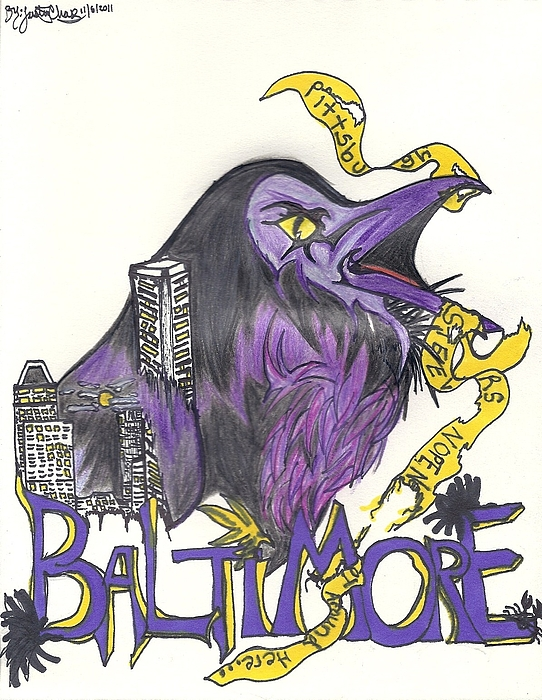 Ravens Drawing - Hometeam by Justin Chase