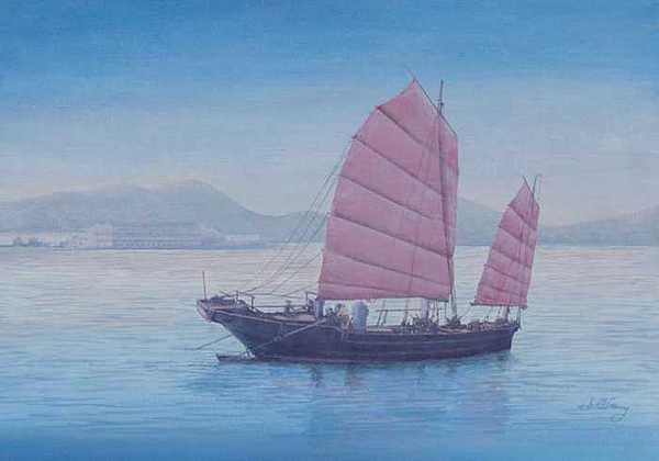 Chinese Junk Painting - Hong Kong Morning by Jim Clary