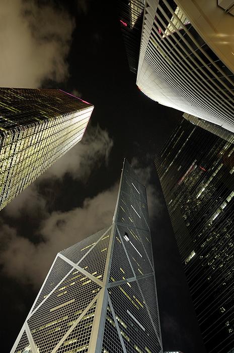 City Photograph - Hong Kong Skyscrapers At Night by Sami Sarkis