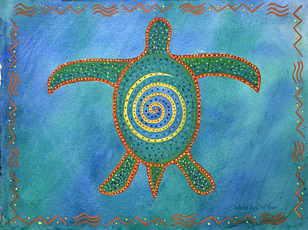 Turtle Painting - Honu by Wicki Van De Veer