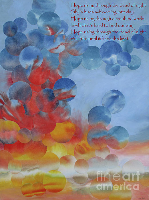 Dawn Mixed Media - Hope Rising - With Poem by Jeni Bate
