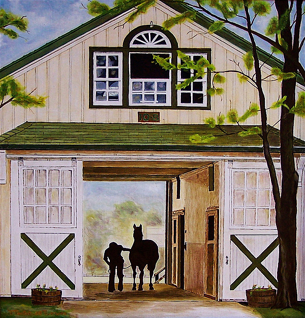 Landscape Painting - Horse Barn by Michael Lewis