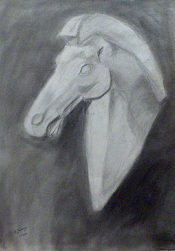 Horse Bust Drawing by Vasilis Ioannou