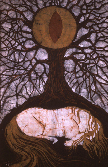 Horse Tapestry - Textile - Horse Sleeps Below Tree Of Rebirth by Carol  Law Conklin