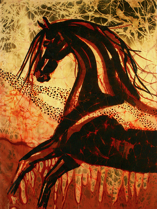 Equine Tapestry - Textile - Horse Through Web Of Fire by Carol Law Conklin