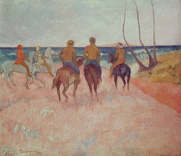 Horse Painting - Horseman On The Beach by Paul Gauguin