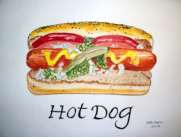Food Painting - Hot Dog by Carol Grimes