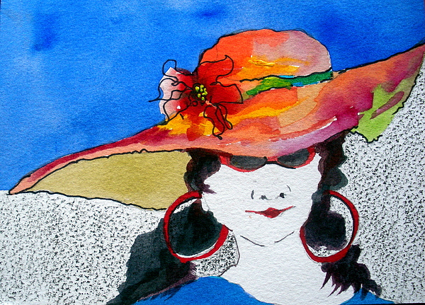 Lady In Hat Painting - Hot Mama by Jane Ferguson