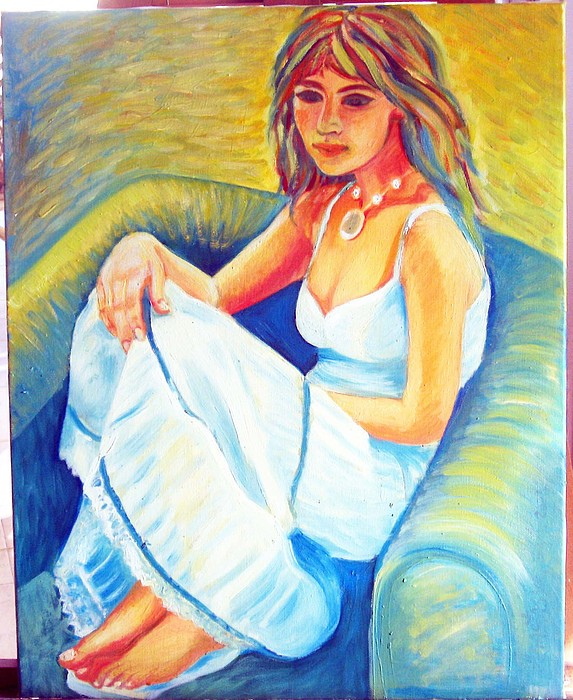 A Girl Painting - Hot Summer Day by Anastasya Shmueli