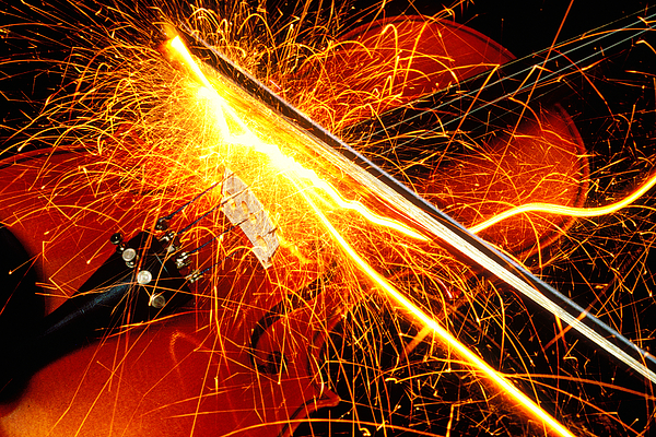 Violin Sparks Flying Bow Music Photograph - Hot Violin by Garry Gay
