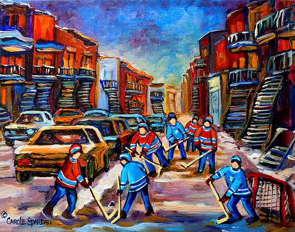 Montreal Painting - Hotel De Ville Montreal Hockey Street Scene by Carole Spandau