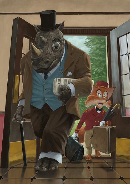 Rhino Painting - Hotel Rhino And Porter Fox by Martin Davey