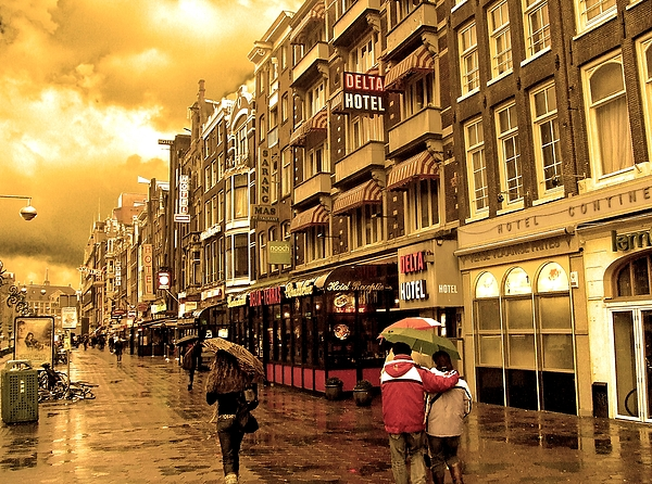 Amsterdam Photograph - Hotel Row -- Amsterdam In November Sepia by Mark Sellers