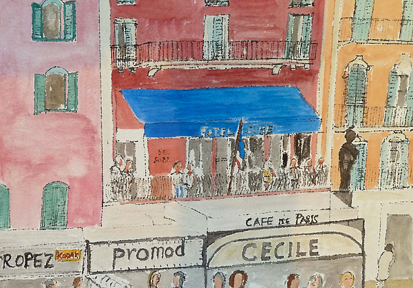 Watercolour Painting - Hotel Sube St Tropez 2012 by Bill White
