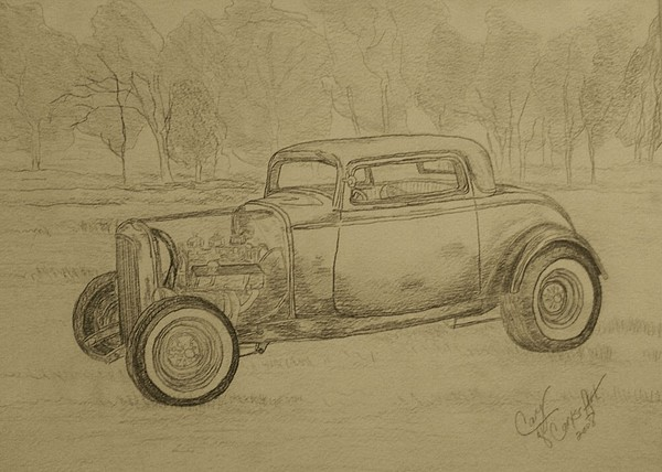 Antique Car Painting - Hotrod 1934 Ford Coupe by Cary Singewald