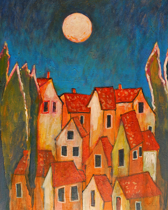 Houses Painting - House Tops And Moon by Jon Adams