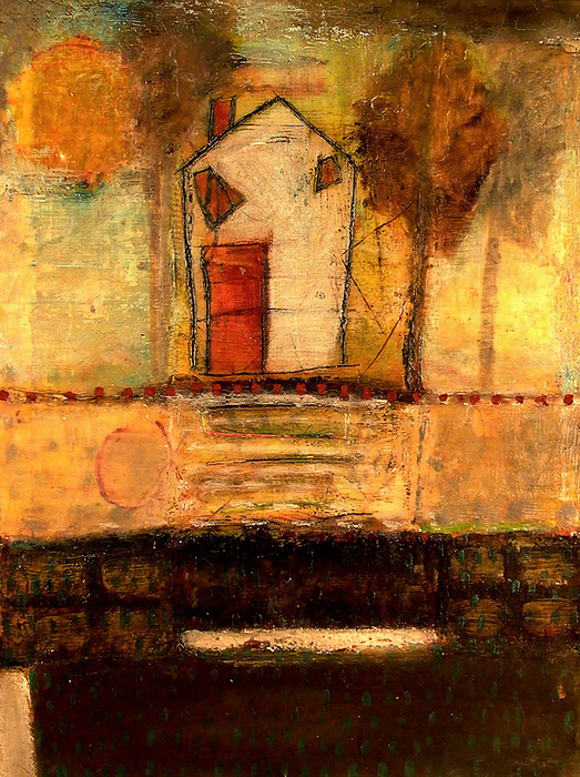 Houses Painting - House With Red Door Large Image by Lynn Bregman-Blass