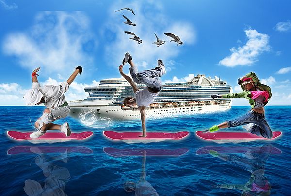 Hoverboard Mixed Media - Hoverboarding Across The Atlantic Ocean by Marvin Blaine