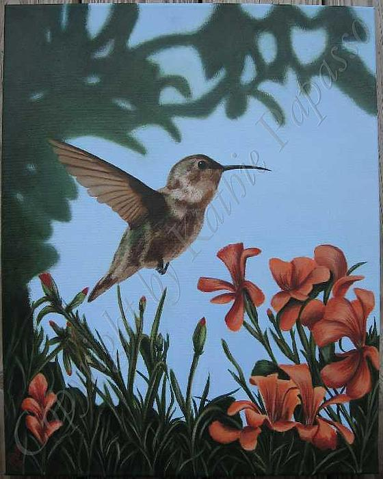 Hummingbird Painting - Hovering In Orange by Kathie Papasso