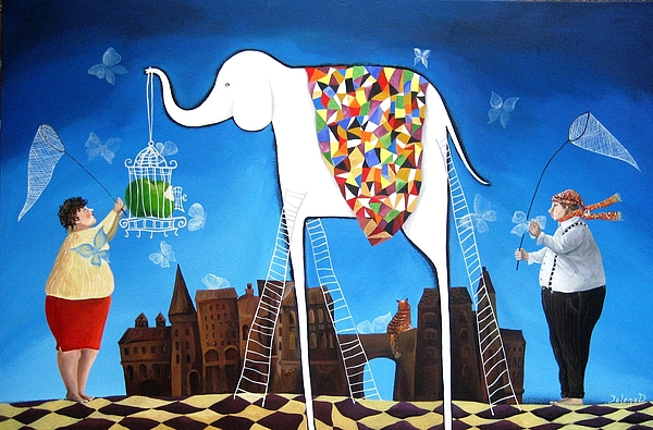 Elephant Painting - How To Catch A Butterfly by Yelena Revis