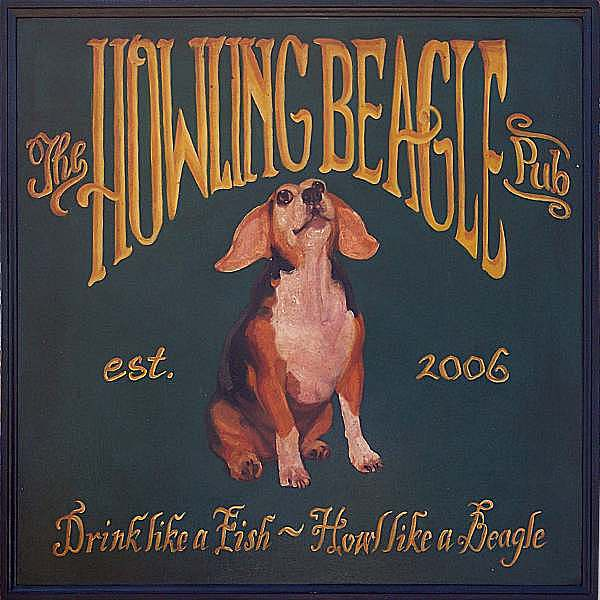 Beagle Painting - Howling Beable Pub by Liz Van der Werff