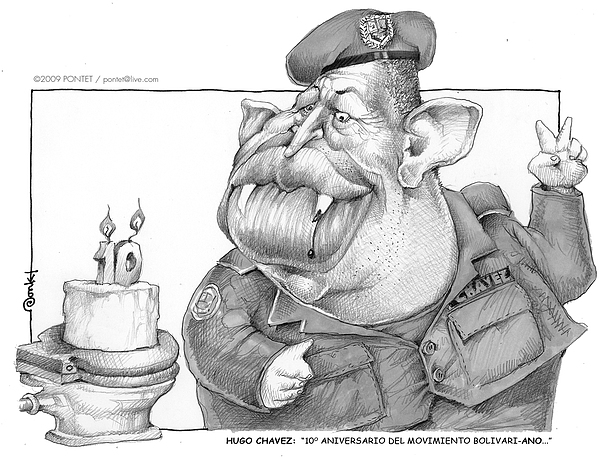 People Drawing - Hugo Chavez by Caricatures By PONTET