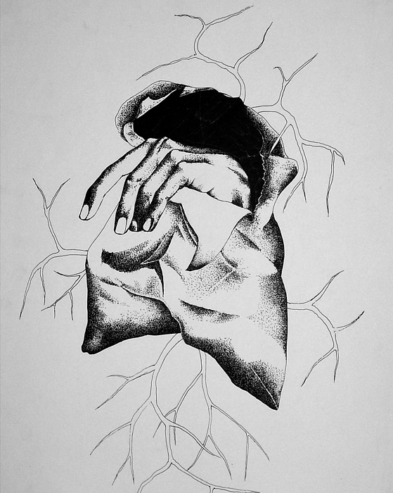 Pen And Ink Drawing - Hunger by Omphemetse Olesitse