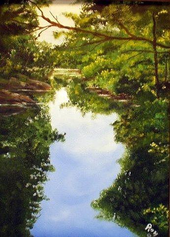 Landscape Painting - Hunterdon Stream by Ron Wieder