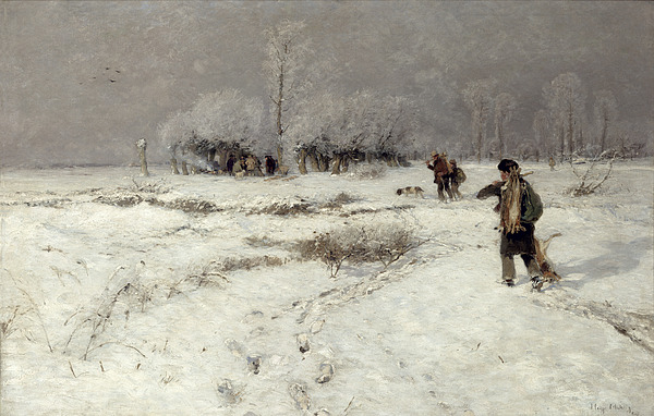 Hunting Painting - Hunting In The Snow by Hugo Muhlig