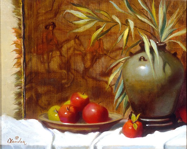 Still Life Painting - Hunting Tapestry With Chinese Vase And Apples by David Olander