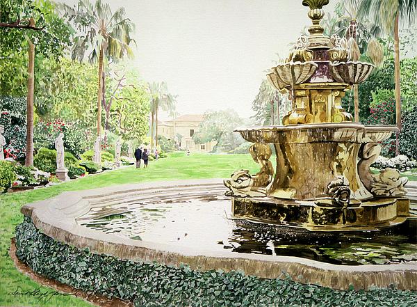 Fountains Painting - Huntington Fountain Morning Mist by David Lloyd Glover