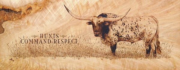 Wood Burning Pyrography - Hunts Command Respect by Jerrywayne Anderson