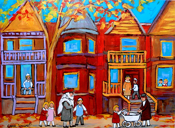 Judaica Painting - Hutchison Street Sabbath In Montreal by Carole Spandau